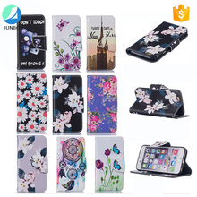 High quality cross pattern flip leather phone case OEM printing paited mobile phone cover for iphone 7 case