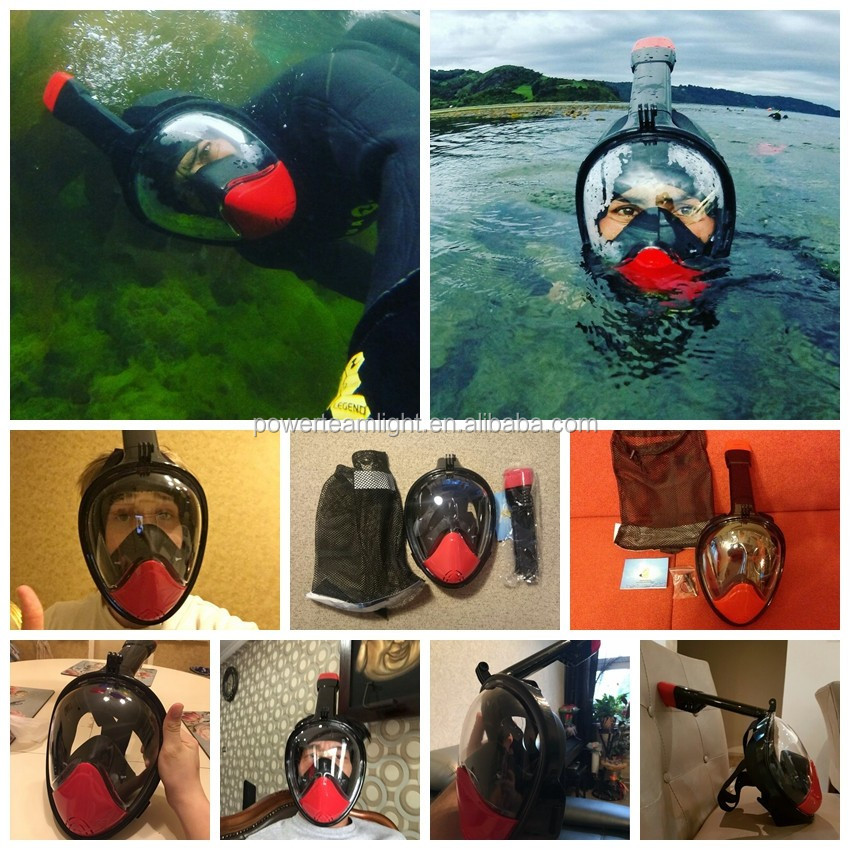 Water Sports Equipment Full Face Diving Mask H2o Ninja Face Mask for Go Pro Camera,180 Degree Snorkel Mask Full Face snorkeling
