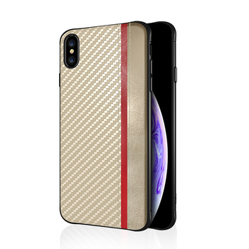 Color block leather carbon fiber case for iphone XS XR XS Max back cover