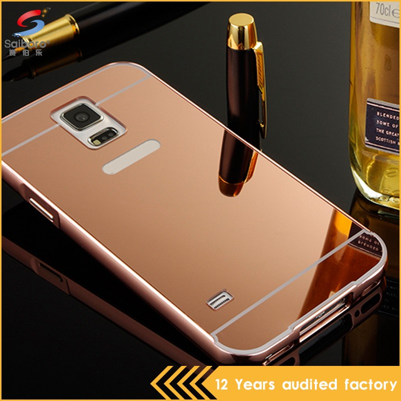 Customized shockproof mirror smart cover case for samsung galaxy s5