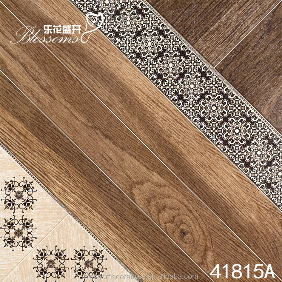 Made in China wooden brown flower ceramic floor tiles (400x400mm)
