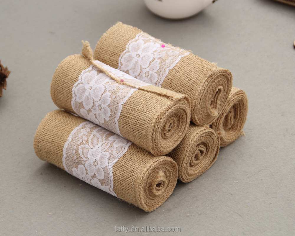 rustic vintage wedding christmas decoration supplies diy ornament Hessian Ribbon Lace Jute Burlap roll