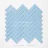 glossy crystal glass irregular herringbone mosaic tiles