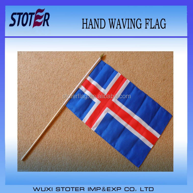 Large Hand Waving Courtesy Flag - Iceland Icelandic