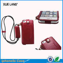 Top layer leather case for iphone 5s with neckstrap