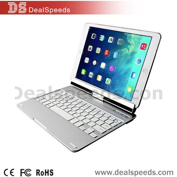 360 Degree Rotation Stand Wireless Bluetooth 3.0 Keyboard for iPad Air 2 (Silver)