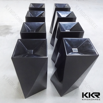 black solid surface composite stone freestanding washbasin
