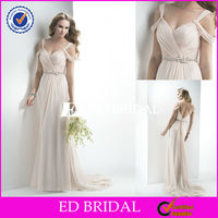 2506 sexy open back spaghetti strap off shoulder light pink flowing chiffon beach wedding dress