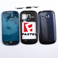 New Full Complete Mobile Phone Housing Frame Middle Cover Case Buttons For Samsung I8190 Galaxy S III mini Blue High Quality