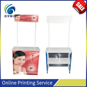 Strong ABS Main Body Iron Standing Poles Wooden Header Board Plastic POP Up Advertising Table