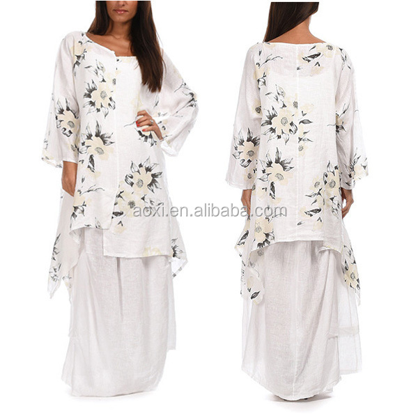 White floral linen western tunic new design abibaba fashion summer dress for women wear