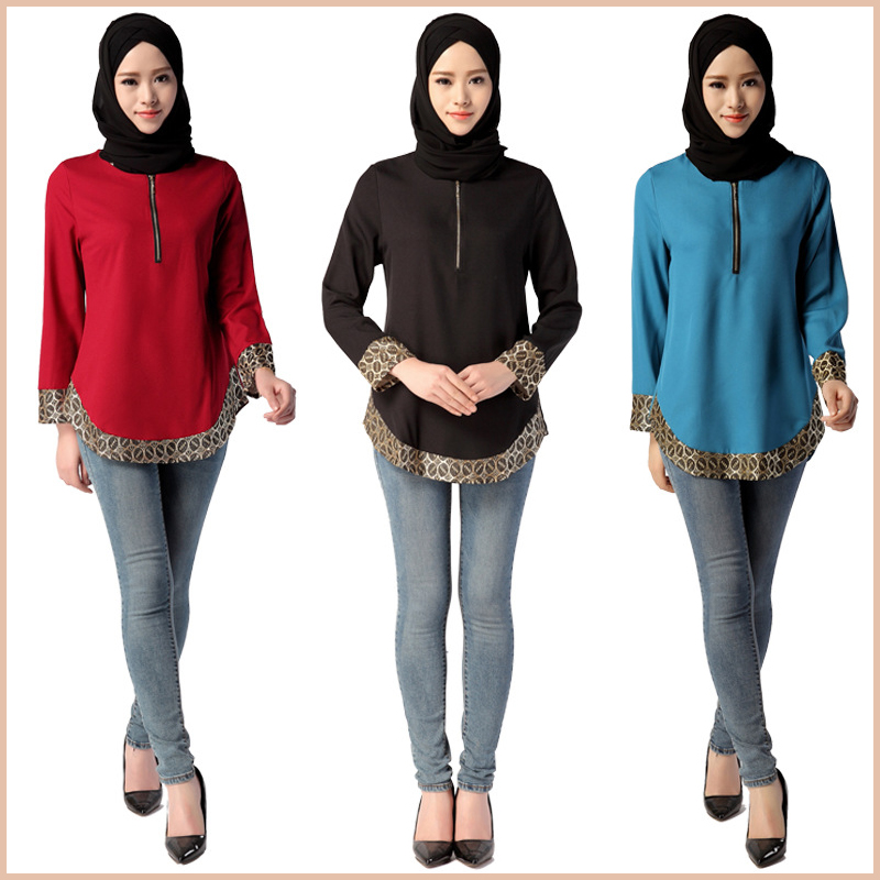 fashion design muslim lady blouse tunic tops long sleeve islamic tunic lady blouse muslim tunic blouse muslim