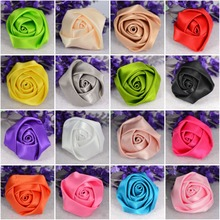 OEM handmade colorful satin ribbon roses artificial flower