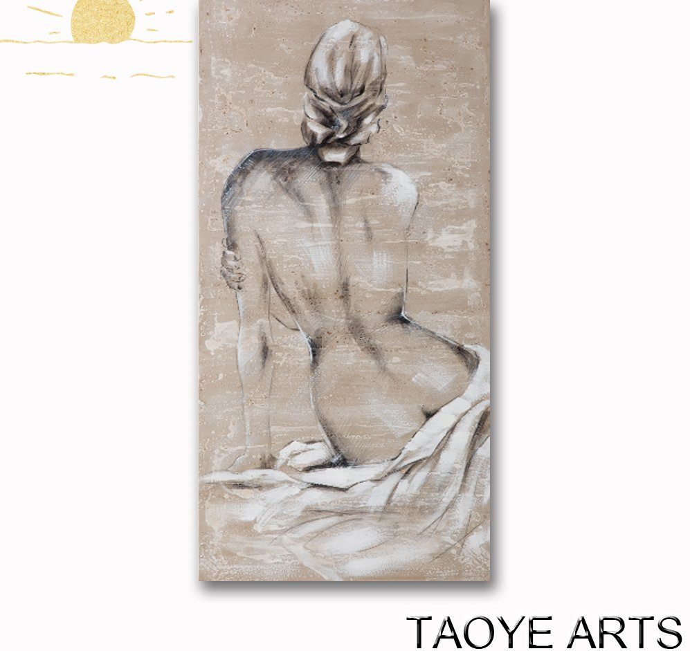 SY291 Hand painted woman painting back nude woman body oil painting for decor