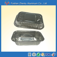 Rectangular/oblong shape 150ml capacity full curved disposable aluminum foil container/tray/lunch box with lid