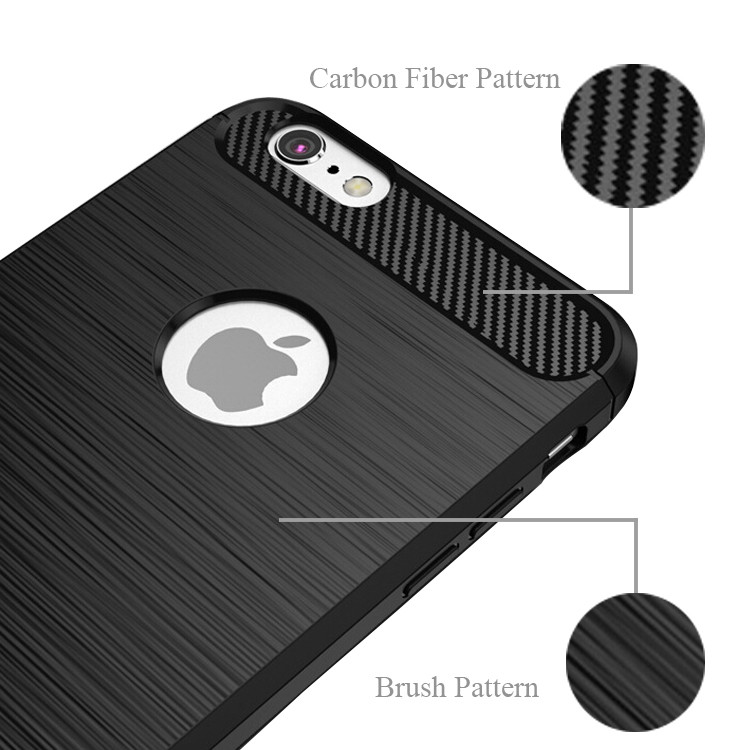Carbon Fiber Pattern Brush TPU Mobile Phone Case Cover For iphone 7