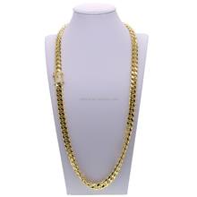 2018 fashion micro pave cubic zirconia men jewelry cuban link chain 18k yellow gold 12mm wide men's hip hop necklace
