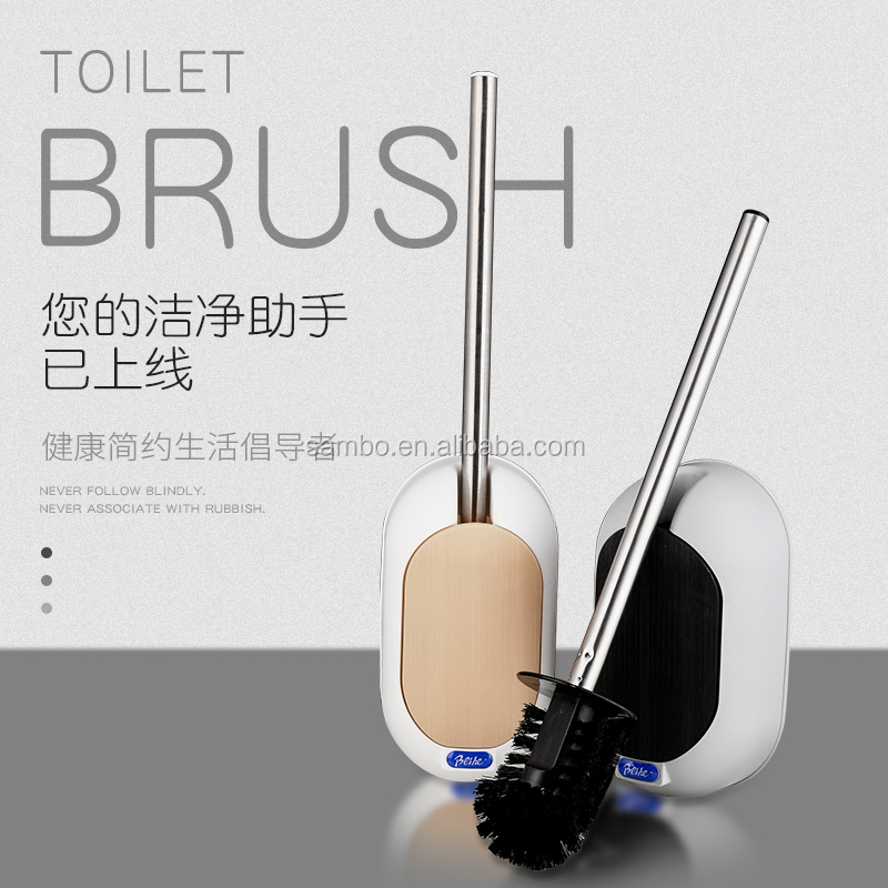 Toilet brush and cleaning brush with stainless steel handle for household cleaning