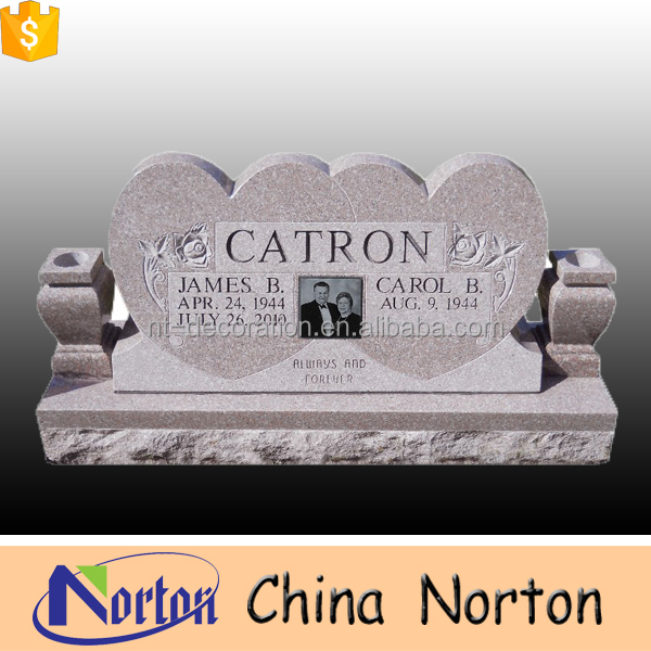 Double heart shaped headstone granite tombstone cheap price NTGT-025L