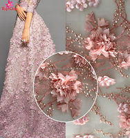 Gorgeous pink 3d lace fabric Embroidered bridal lace textile/ handmade 3d pearl lace for wedding dress/ french wedding lace