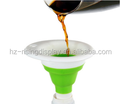 Big Sales 100% Food Grade Collapsible/Foldable Silicone Funnel for Liquid transfer, Oil, Powder, wine