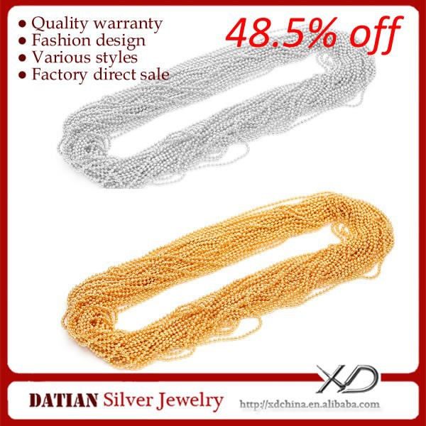 XD XS059 925 Sterling Silver Roll Jewelry Chain with 18K Gold Plated