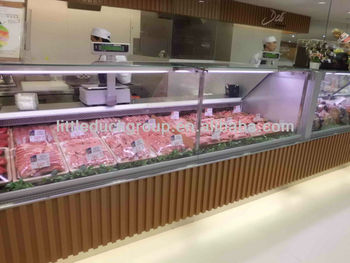fresh meat service counter with vertical glass cover
