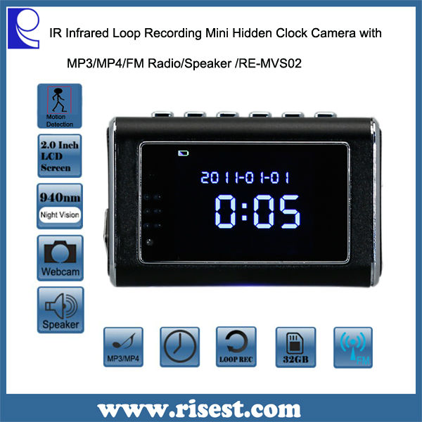 RE-MVS02 Mini Clock Portable Night Vision Video Camera with Motion Detection Function