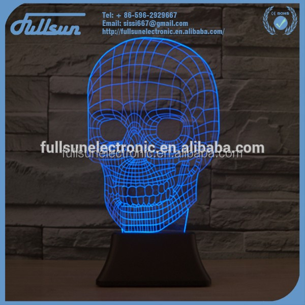 3D illusion skull shape led night light usb charger FS-2815