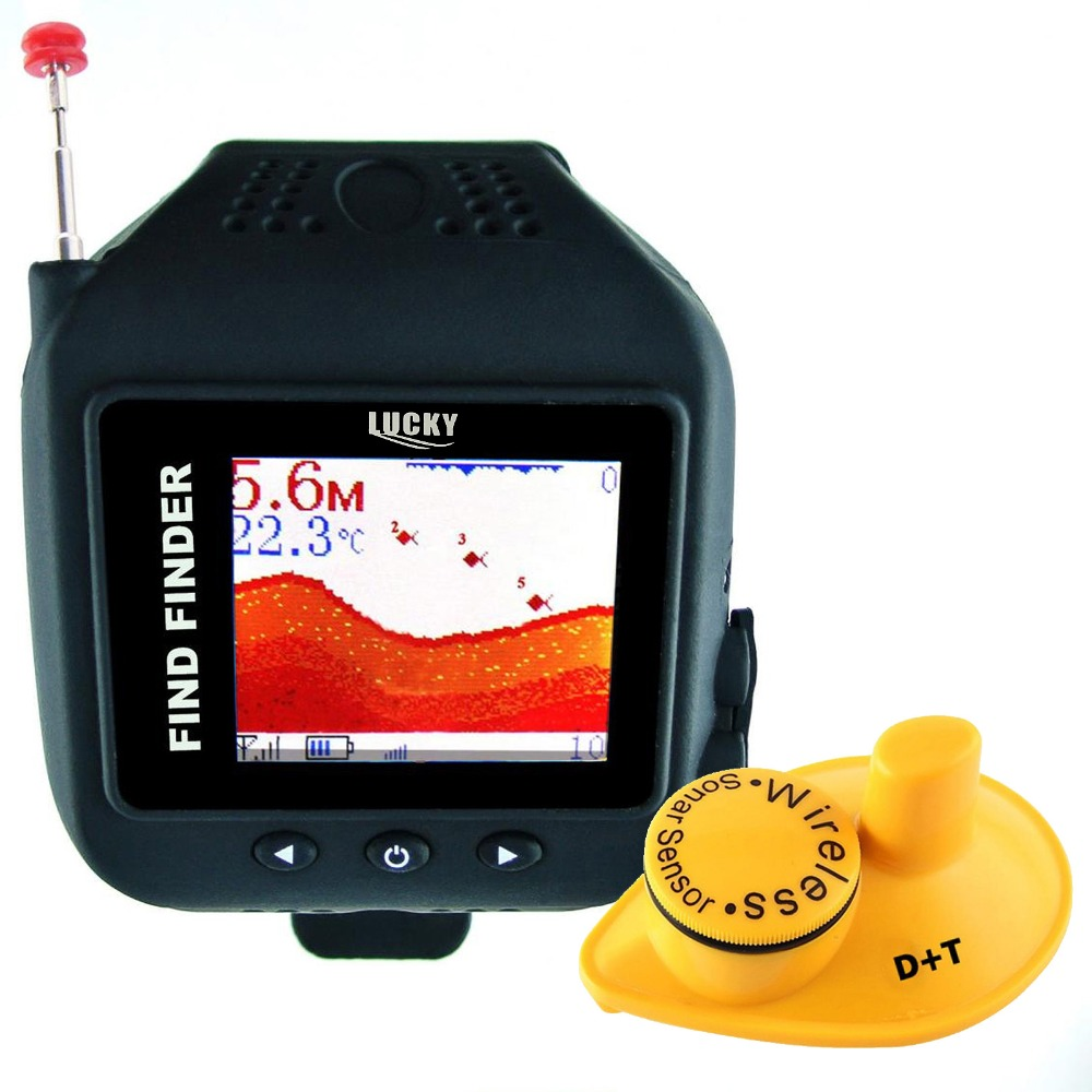 "LUCKY <strong>1</strong>.77"" TFT LCD Wrist Watch Fish Finder Wireless Sonar Sensor 150FT Depth Fishfinder Clock Mode"