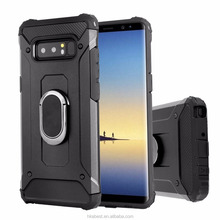 Hybrid Protective Case Shock-Absorption Drop-Protective Ring Holder Hard PC Shell & Soft Silicone Case Stand for Samsung Note 8