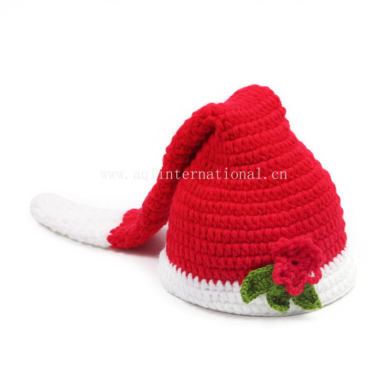 Custom baby crochet hats hand knitted christmas hat with flower