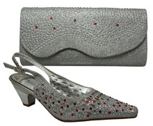 Nice Design Italian Shoes With Matching Bags Latest Rhinestone African Women Shoes and Bags Set For Sale 66077