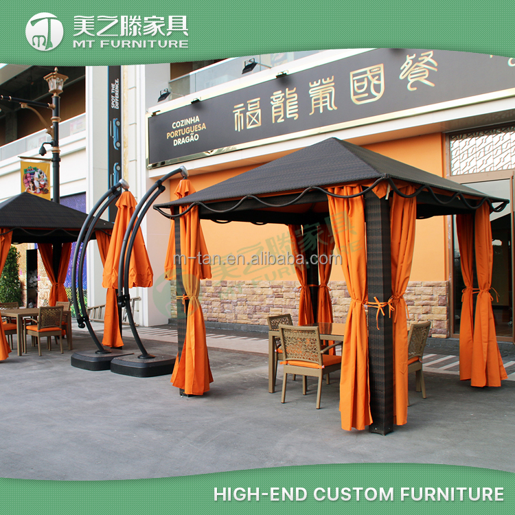 High quality classic 10' x 10' outdoor rattan gazebo canopy with unique wide legs and curtain