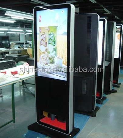 floor standing 42inch LCD advertising screen with shoe machine