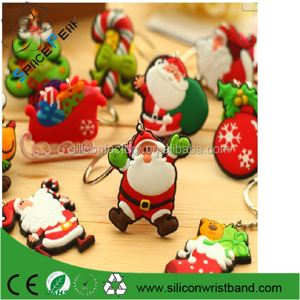 Hot-sale Christmas Gifts PVC keychains keyring,charm Santa Claus shape silicone key holder,women bag Jewelry pendant