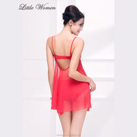 Free sample backless transparent mature women sleepwear hot sexy transparent nighties