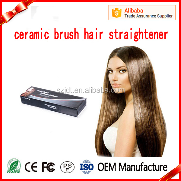 2016 lcd display electric comb fast ceramic hair brush straightener with hot protection