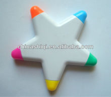 new style high quality star shape multi color highlight pen