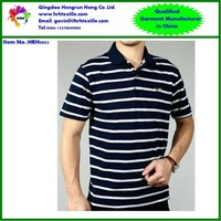 high quality custom cotton polyester men's stripes printing embroidery short sleeve polo t shirt OEM supplier