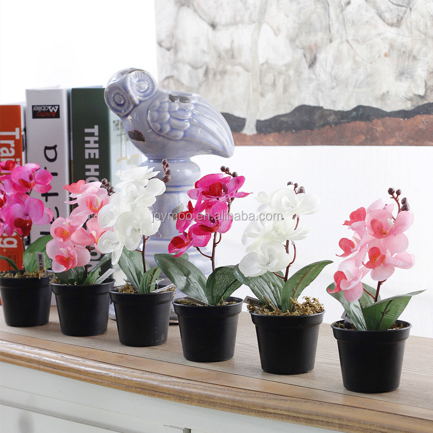 High Quality Fabric Wholesale Single Boxed Butterfly Artificial Orchid Plants