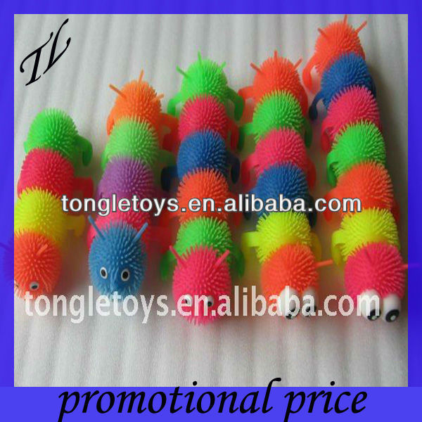 led flashing spiky worm puffer ball toys for kids with 15-55cm length