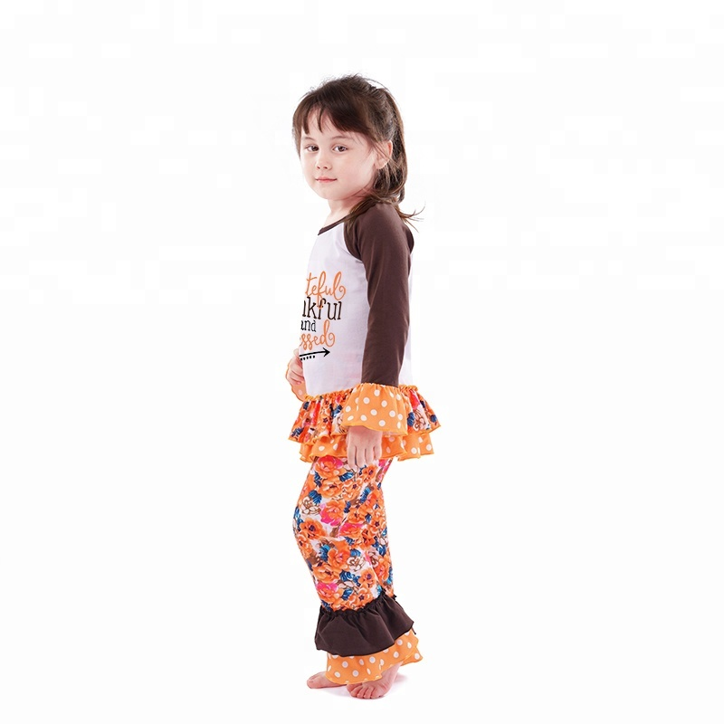 wholesales girls toddler baby clothing ruffle shirt and pants 2pc set thanksgiving girls outfit