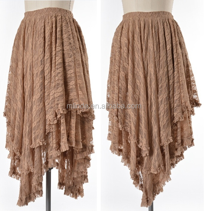 WHOLESALE LAYERED FLORAL LACE HIGH WAIST SKIRT ASYMMETRIC PLEATED LACE SKIRT FOR WOMEN