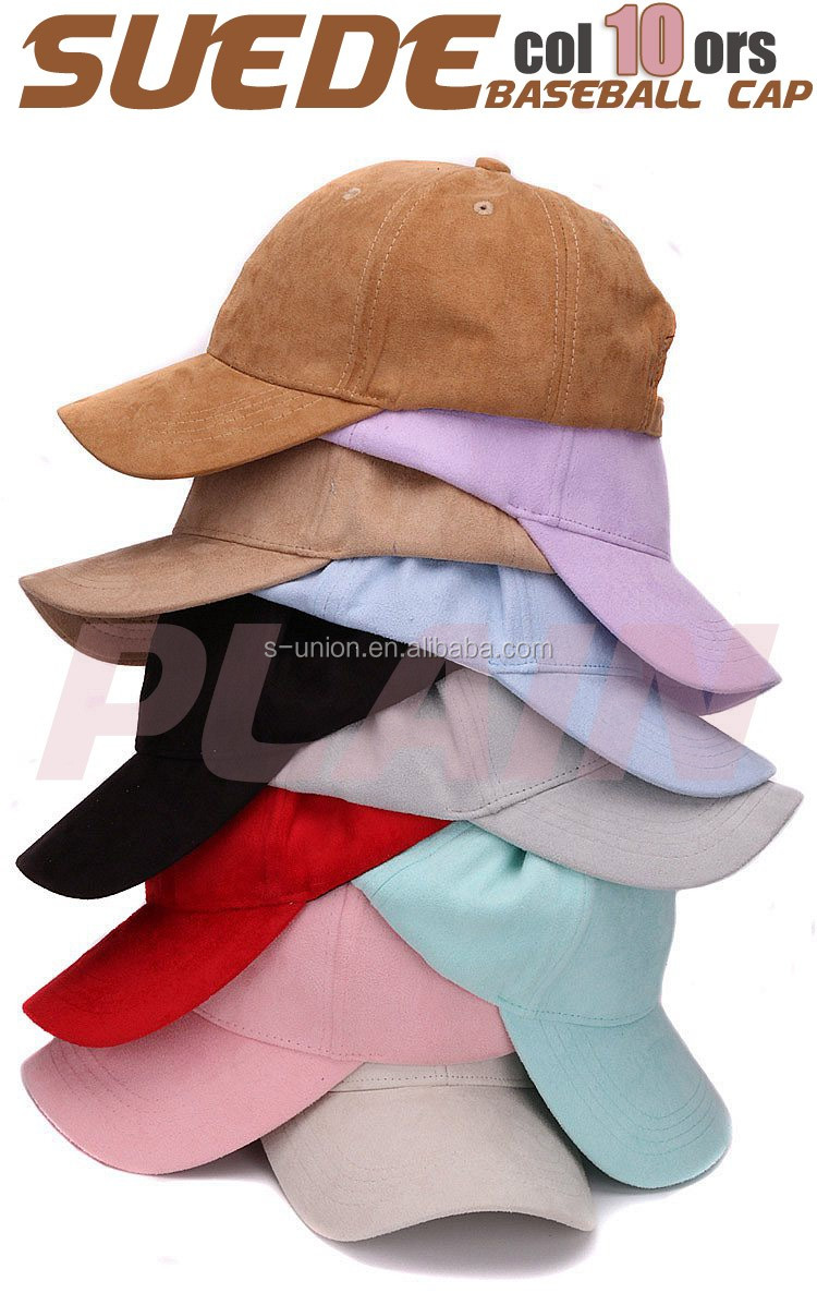 Free shipping Plain Suede baseball caps with no embroidered strap back outdoor blank sport cap and hat for men and women