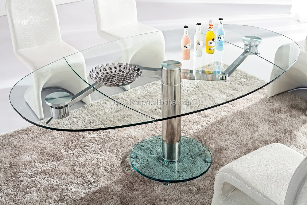 2016 famous design tempered glass top dining table oval extendable