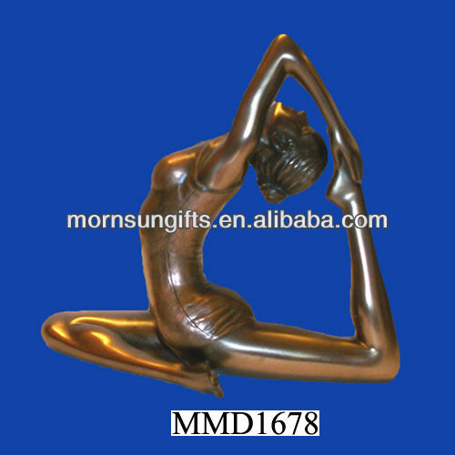 Polyresin One-Legged King Pigeon Pose Brass Figurines
