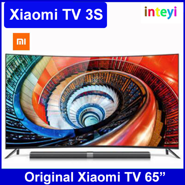 "Original Xiaomi MI TV 3S Curve 65"" Inches Smart TV English Interface HD Screen Real 4K 3840*2160 Ultra HD Quad Core Household TV"