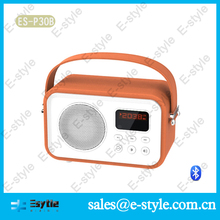 2014 new China Alibaba colorful leather bluetooth cara membuat speaker aktif mini with handle FM USB TF card and microphone