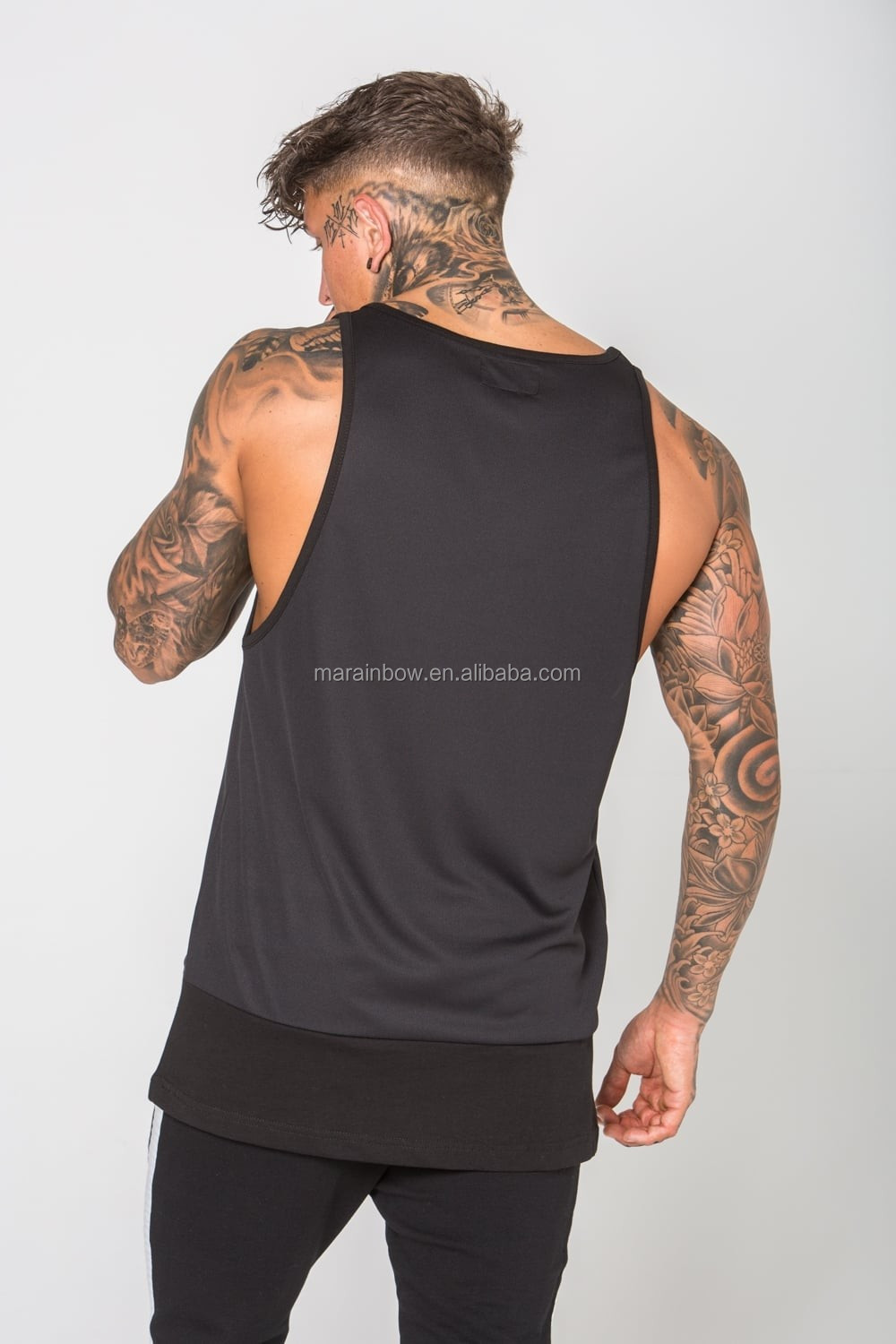 Black Reverse Mesh Detail Vest Men's Two Tone Paneled Tank Top Longline Deep Cut Tank Top